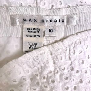 Max Studio White Cotton Eyelet Skirt